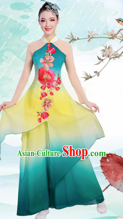 Chinese Traditional Umbrella Dance Stage Show Green Dress Classical Dance Fan Dance Costume for Women