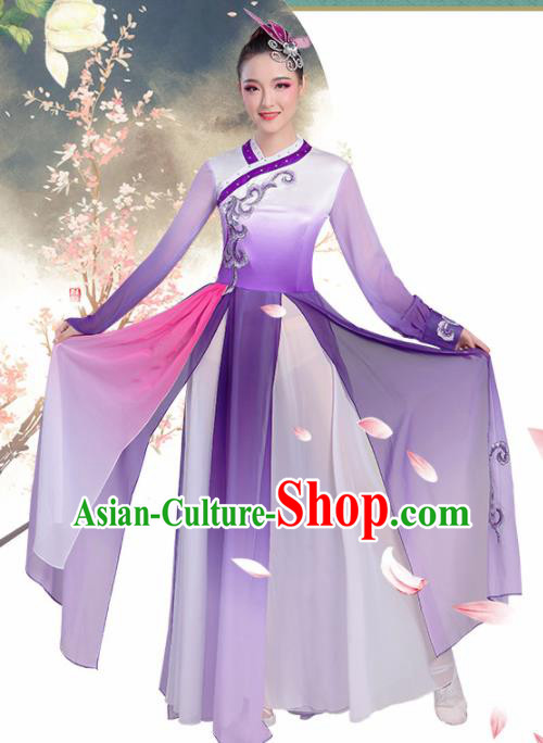 Chinese Traditional Umbrella Dance Purple Dress Classical Dance Fan Dance Costume for Women