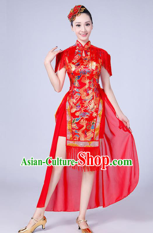 Chinese Traditional Folk Dance Yangko Red Tassel Dress Drum Dance Group Dance Costume for Women