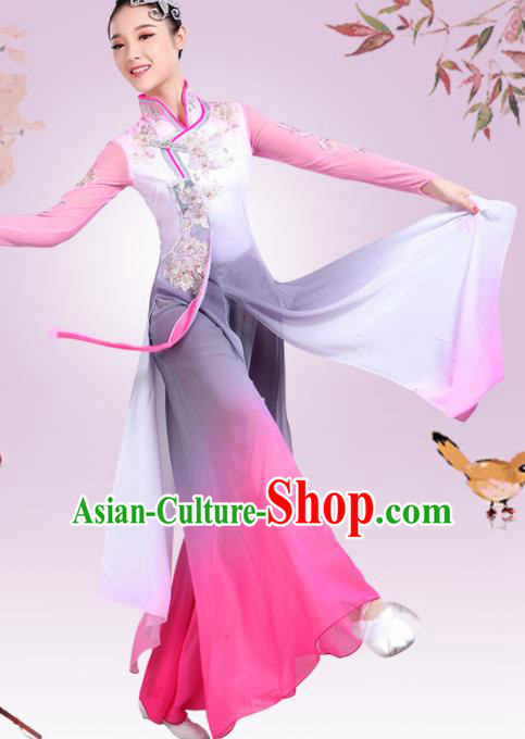Chinese Traditional Umbrella Dance Pink Dress Classical Dance Fan Dance Costume for Women
