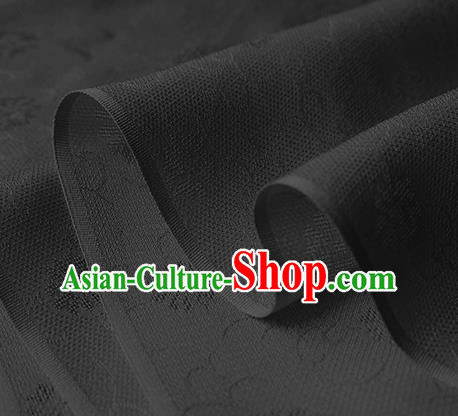 Traditional Chinese Classical Daisy Pattern Design Ash Black Silk Fabric Ancient Hanfu Dress Silk Cloth