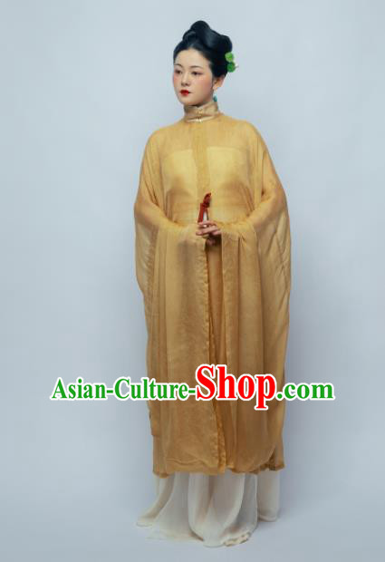 Traditional Chinese Ancient Geisha Yellow Hanfu Dress Ming Dynasty Nobility Countess Replica Costume for Women