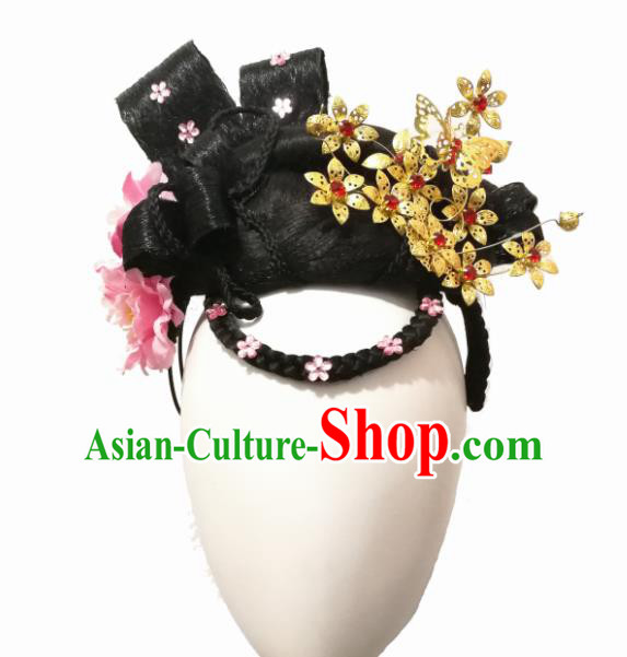 Chinese Traditional Classical Dance Hair Accessories Flying Flower Dance Wig Chignon Headdress for Women