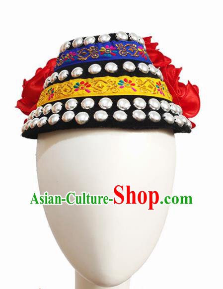 Chinese Traditional Ethnic Dance Hair Accessories Yi Nationality Dance Hat for Women