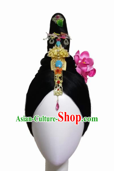 Traditional Chinese Classical Dance Wang Zhaojun Hair Accessories Fan Dance Wig Chignon Headdress for Women
