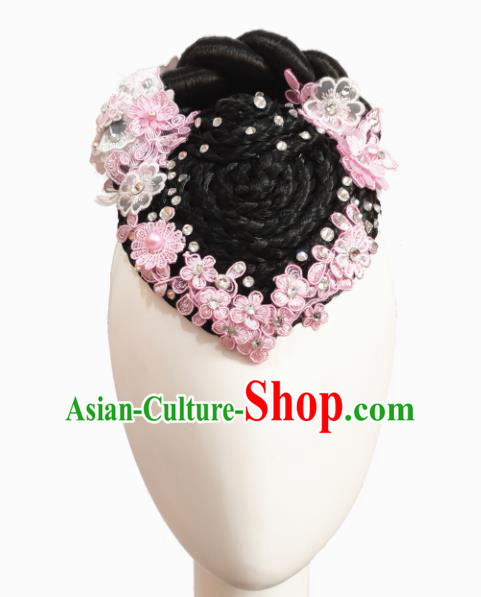 Chinese Traditional Classical Dance Butterfly Flying Hair Accessories Fan Dance Wig Chignon Headdress for Women