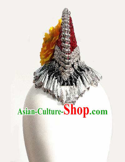 Chinese Traditional Ethnic Buckwheat Dance Hair Accessories Yi Nationality Dance Headwear for Women
