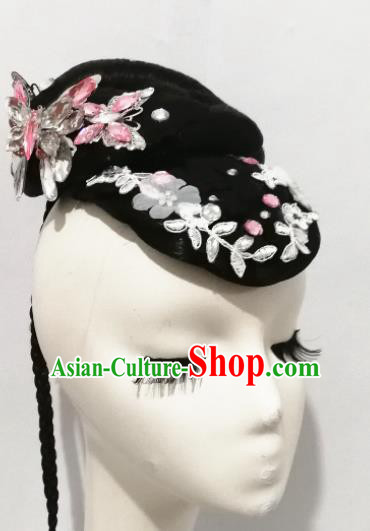 Traditional Chinese Classical Dance Colorful Butterflies Flying Hair Accessories Water Sleeve Dance Wig Chignon Headdress for Women