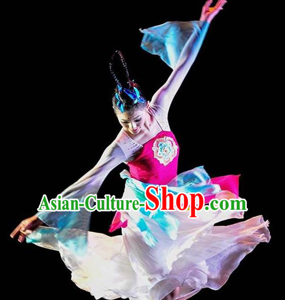 Chinese Traditional Classical Dance Orchid Dance Outfits Group Dance Costume for Women