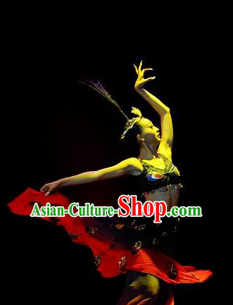 Chinese Traditional Dai Ethnic Dance Black Dress Nationality Peacock Dance Costume for Women