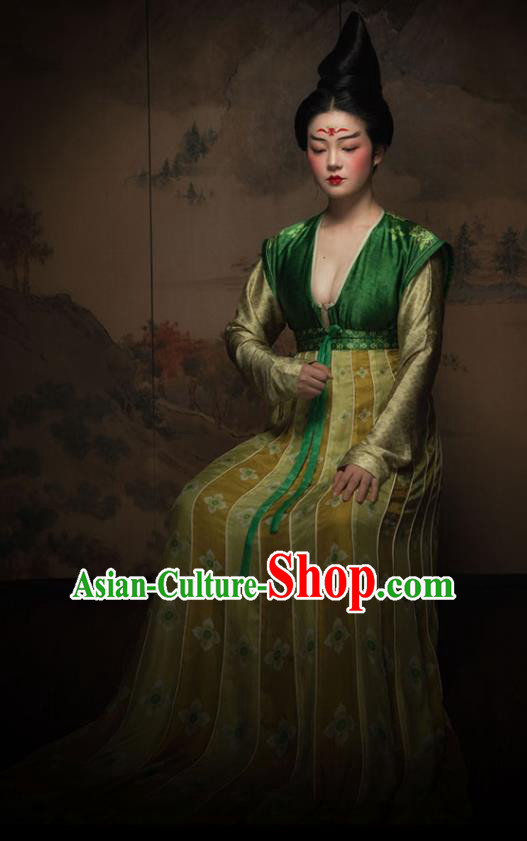 Chinese Ancient Tang Dynasty Court Maid Silk Hanfu Dress Traditional Palace Lady Replica Costume for Women