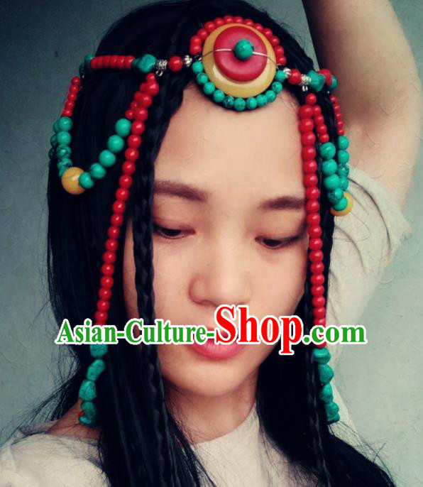 Chinese Traditional Tibetan Ethnic Beads Tassel Hair Clasp Hair Accessories Zang Minority Nationality Headwear for Women