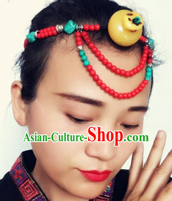 Chinese Traditional Tibetan Ethnic Red Beads Hair Clasp Hair Accessories Zang Minority Nationality Headwear for Women