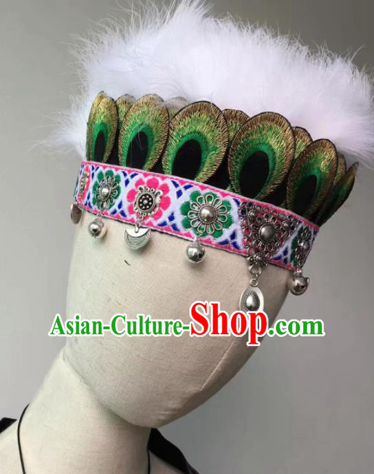 Chinese Traditional Miao Ethnic Feather Hair Accessories Peacock Dance Hair Crown Headwear for Women