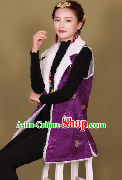 Traditional Chinese Zang Ethnic Winter Purple Vest Tibetan Minority Upper Outer Garment Costume for Women