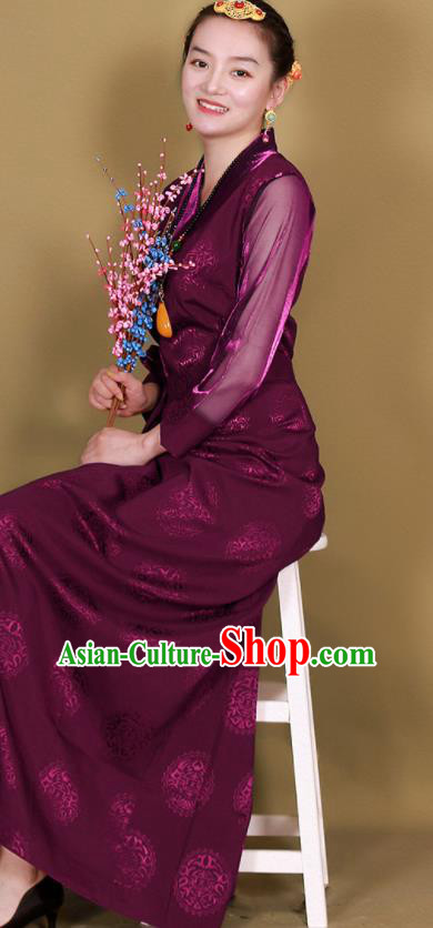 Traditional Chinese Zang Ethnic Purple Heishui Dress Tibetan Minority Folk Dance Costume for Women