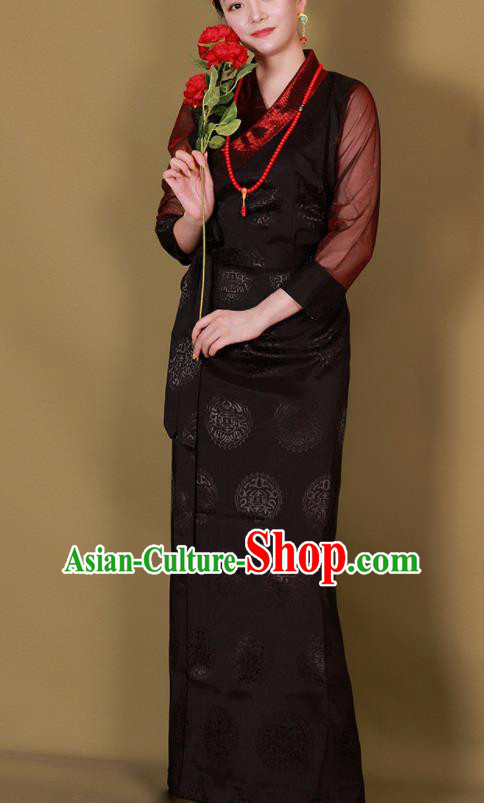 Traditional Chinese Zang Ethnic Black Heishui Dress Tibetan Minority Folk Dance Costume for Women