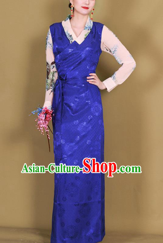 Traditional Chinese Zang Ethnic Royalblue Guozhuang Dress Tibetan Minority Folk Dance Costume for Women