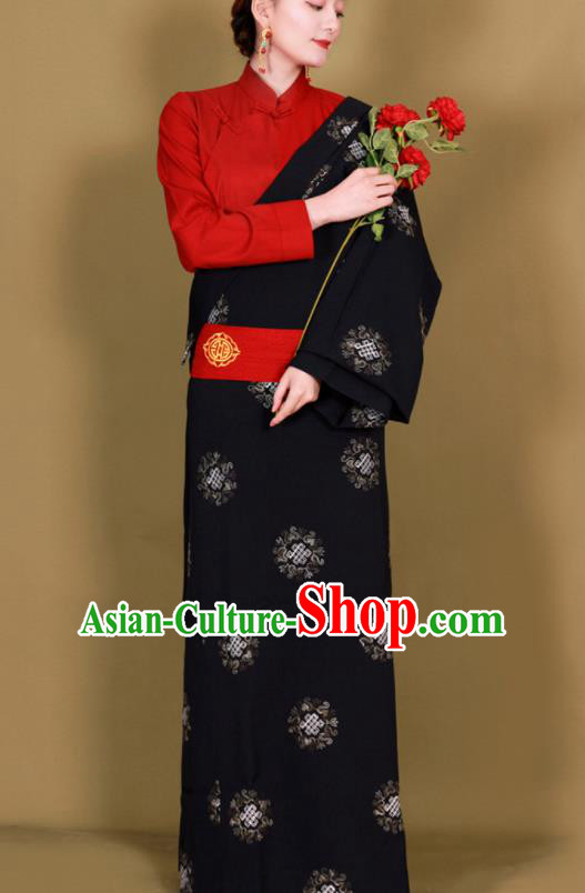 Traditional Chinese Zang Ethnic Black Guozhuang Dress Tibetan Minority Folk Dance Costume for Women