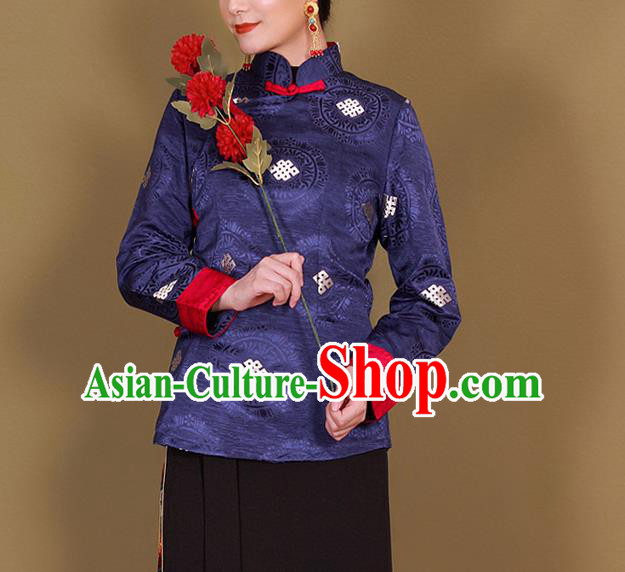 Traditional Chinese Zang Ethnic Royalblue Shirt Tibetan Minority Upper Outer Garment Costume for Women