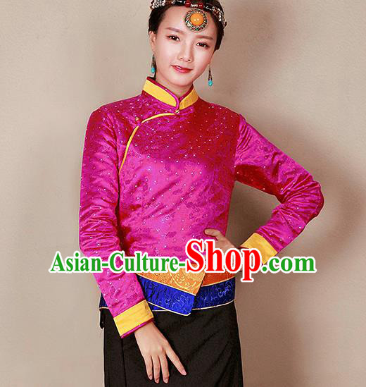 Traditional Chinese Zang Ethnic Rosy Blouse Tibetan Minority Upper Outer Garment Costume for Women