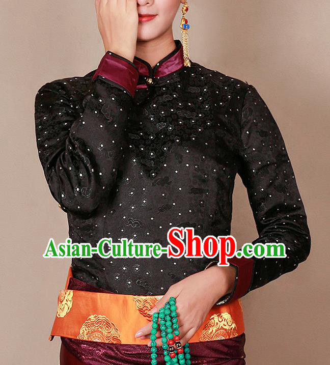 Traditional Chinese Zang Ethnic Black Blouse Tibetan Minority Upper Outer Garment Costume for Women