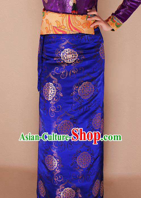 Traditional Chinese Zang Ethnic Royalblue Brocade Skirt Tibetan Minority Folk Dance Costume for Women