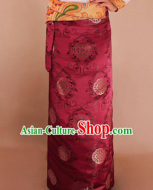 Traditional Chinese Zang Ethnic Wine Red Brocade Skirt Tibetan Minority Folk Dance Costume for Women