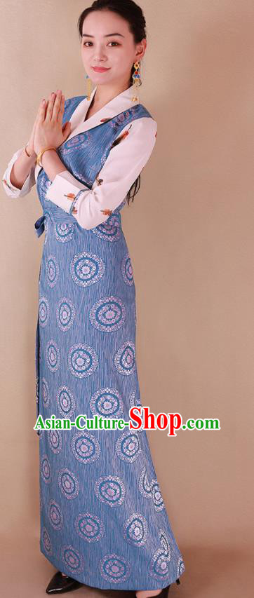 Traditional Chinese Zang Ethnic Blue Silk Dress Tibetan Minority Folk Dance Costume for Women