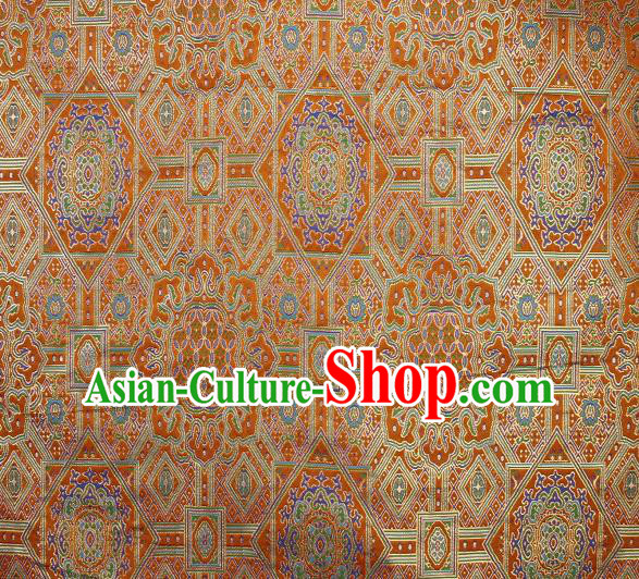 Asian Chinese Traditional Buddhism Pattern Golden Brocade Tibetan Robe Satin Fabric Chinese Silk Material