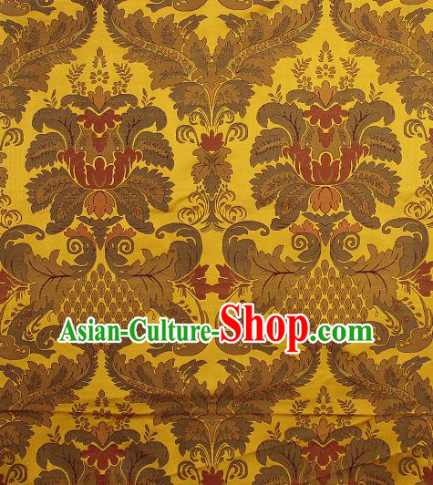 Asian Chinese Traditional Buddhism Auspicious Pattern Golden Brocade Tibetan Robe Satin Fabric Chinese Silk Material