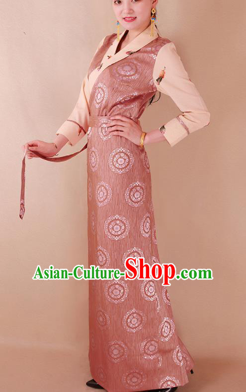 Traditional Chinese Zang Ethnic Pink Silk Dress Tibetan Minority Folk Dance Costume for Women