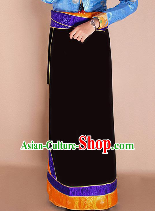 Traditional Chinese Zang Ethnic Black Bhutan Skirt Tibetan Minority Folk Dance Costume for Women