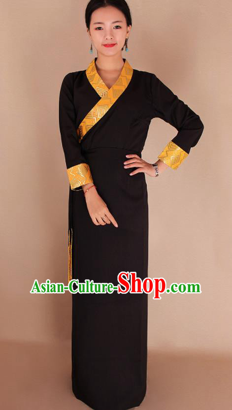 Traditional Chinese Zang Ethnic Kangba Black Dress Tibetan Minority Folk Dance Costume for Women