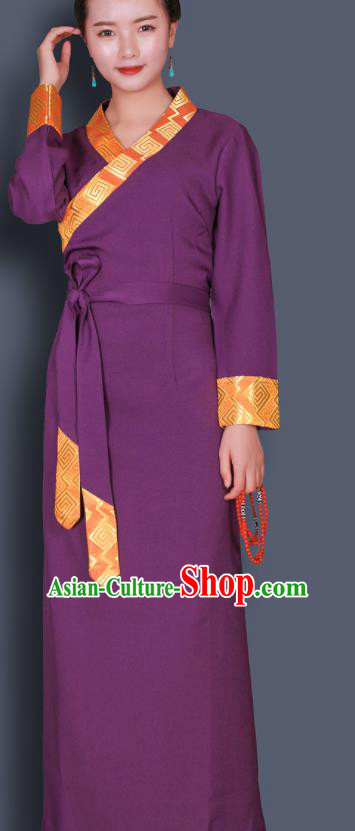 Traditional Chinese Zang Ethnic Kangba Purple Dress Tibetan Minority Folk Dance Costume for Women