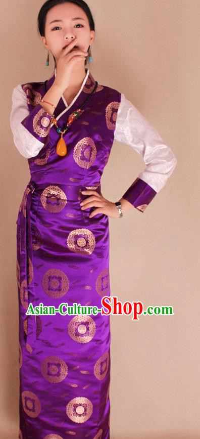 Traditional Chinese Zang Ethnic Kangba Purple Brocade Dress Tibetan Minority Folk Dance Costume for Women