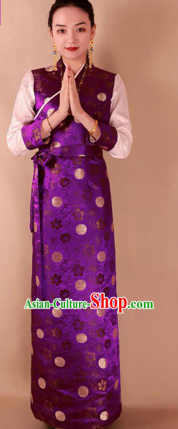 Traditional Chinese Zang Ethnic Purple Brocade Dress Tibetan Minority Kangba Folk Dance Costume for Women