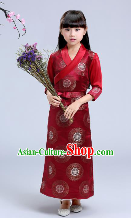 Traditional Chinese Zang Ethnic Girls Wine Red Dress Tibetan Minority Folk Dance Costume for Kids