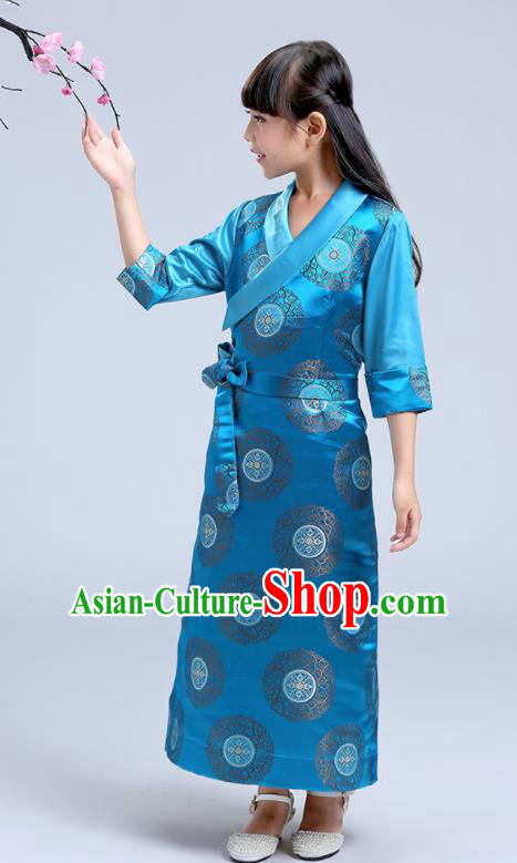 Traditional Chinese Zang Ethnic Girls Blue Dress Tibetan Minority Folk Dance Costume for Kids