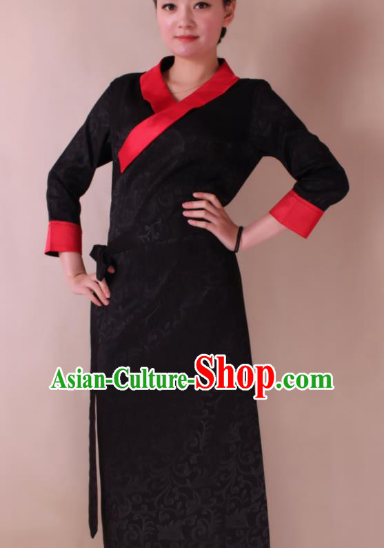 Traditional Chinese Zang Ethnic Folk Dance Black Dress Tibetan Minority Costume for Women