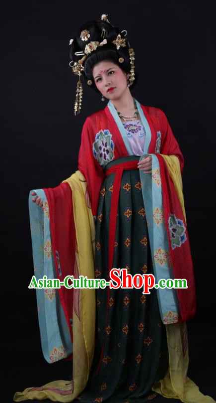 Traditional Chinese Tang Dynasty Bride Wedding Hanfu Dress Ancient Court Queen Replica Costume for Women