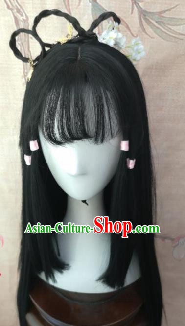 Chinese Traditional Cosplay Female Swordsman Huang Rong Wigs Ancient Nobility Lady Wig Sheath Hair Accessories for Women