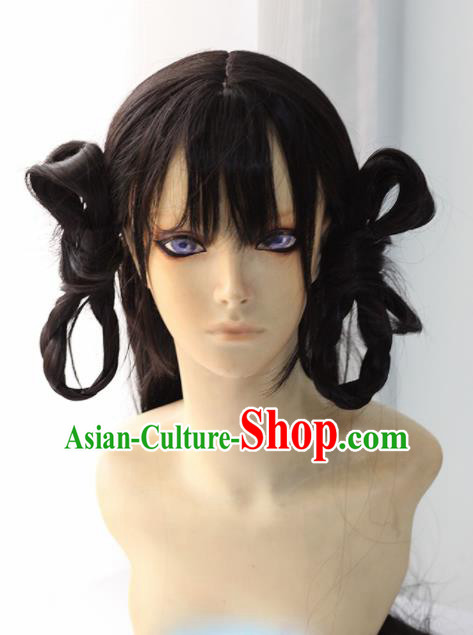 Chinese Traditional Cosplay Female Knight Black Hair Wigs Ancient Swordswoman Wig Sheath Hair Accessories for Women