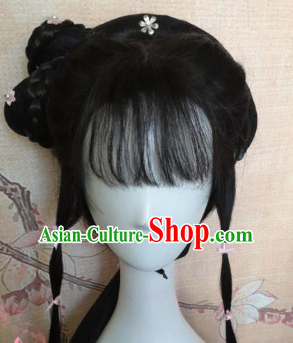 Chinese Traditional Cosplay Ming Dynasty Princess Wigs Ancient Nobility Lady Wig Sheath Hair Accessories for Women