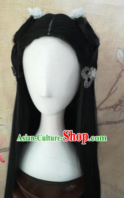 Chinese Traditional Cosplay Nobility Lady Black Long Wigs Ancient Palace Princess Wig Sheath Hair Accessories for Women