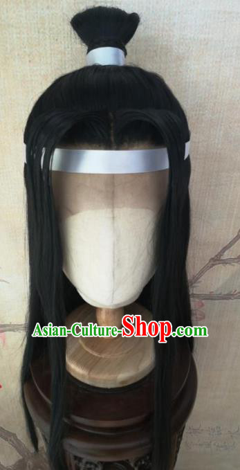 Traditional Chinese Cosplay Hanfu Swordsman Wigs Ancient Prince Nobility Childe Black Wig Sheath Hair Accessories for Men
