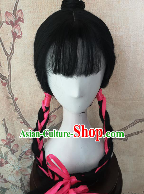 Chinese Traditional Cosplay Servant Girl Wigs Ancient Maidservants Wig Sheath Hair Accessories for Women