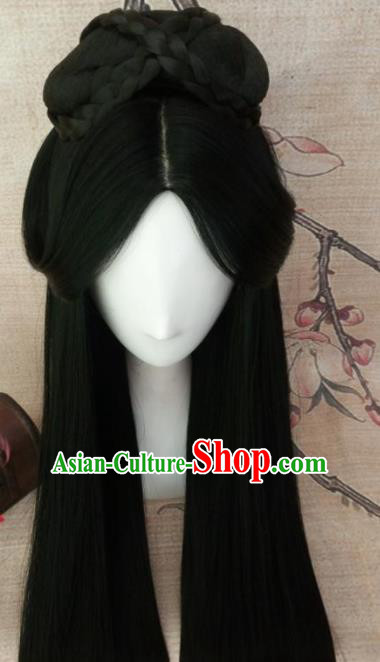 Chinese Traditional Cosplay Han Dynasty Imperial Consort Wigs Ancient Court Lady Wig Sheath Hair Accessories for Women