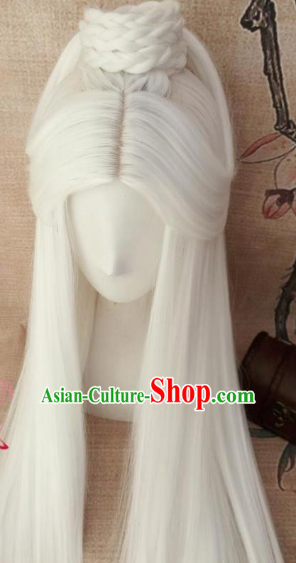 Traditional Chinese Cosplay Hanfu Old Swordsman White Wigs Ancient Taoist Priest Wig Sheath Hair Accessories for Men