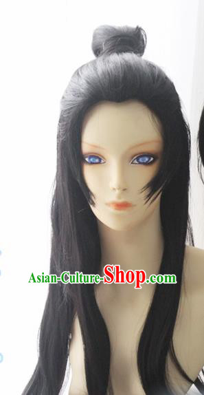 Chinese Traditional Cosplay Young Knight Wigs Ancient Swordsman Wig Sheath Hair Accessories for Men
